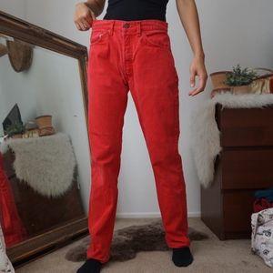 Vintage Red Mens Levi's Button Up Jeans